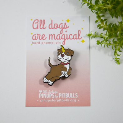 Enamel Pins : Pit Bull Unicorn (Piticorn)