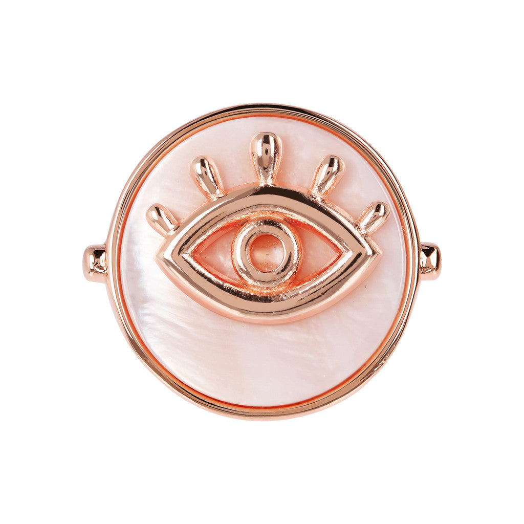 montatura del ALBA ALBA ALPHABET flat DISC STONE RING WITH EYE  ELEMENT - WSBZ01704 con MADREPERLA ROSA