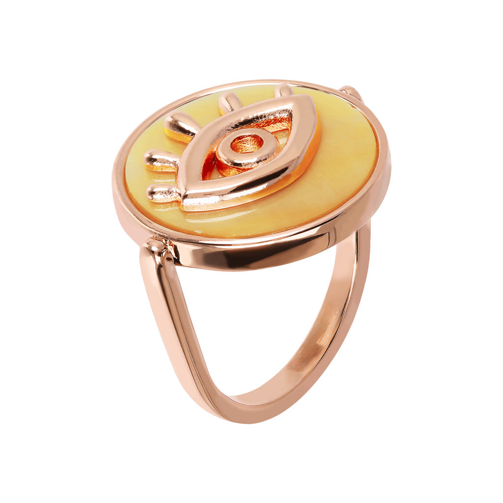 ALBA ALBA ALPHABET flat DISC STONE RING WITH EYE  ELEMENT - WSBZ01704 con YELLOW DYED MOP