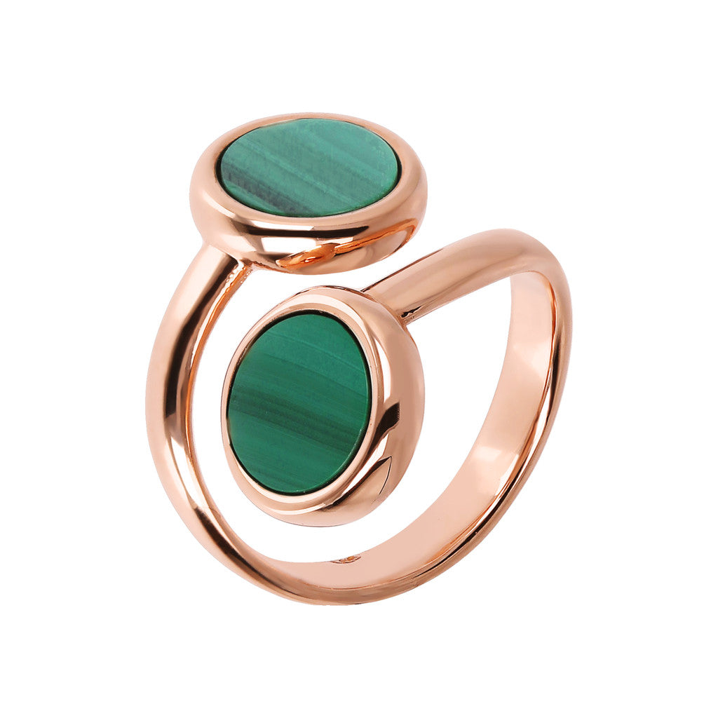 ALBA CONTRAIRE 8MM FLAT DISC STONE RING - WSBZ01757 con MALACHITE