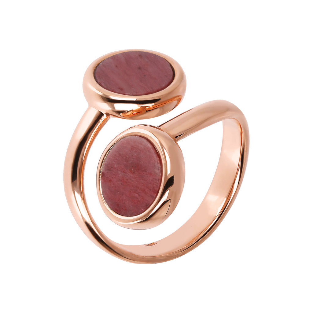 ALBA CONTRAIRE 8MM FLAT DISC STONE RING - WSBZ01757 con RODONITE