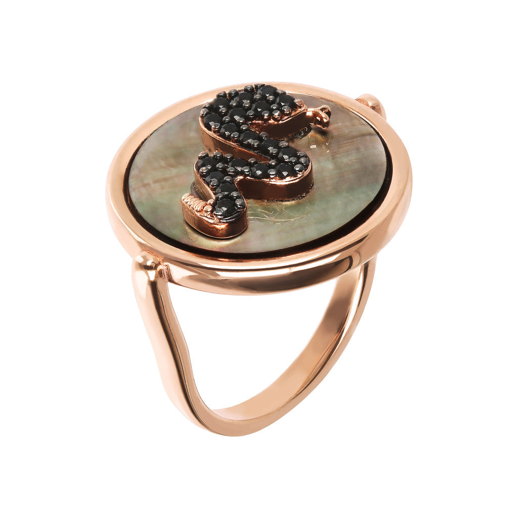 ALBA  FLAT DISC STONE RING WITH SNAKE CZ ELEMENT - WSBZ01549 con MADREPERLA GRIGIA