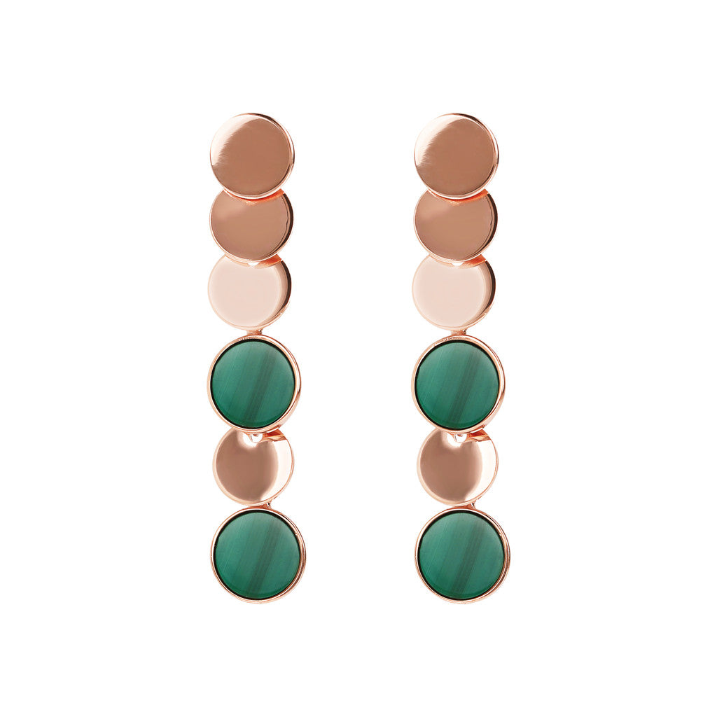 ALBA dangle polished 8MM disc earrings with flat disc stone - WSBZ01755 con MALACHITE