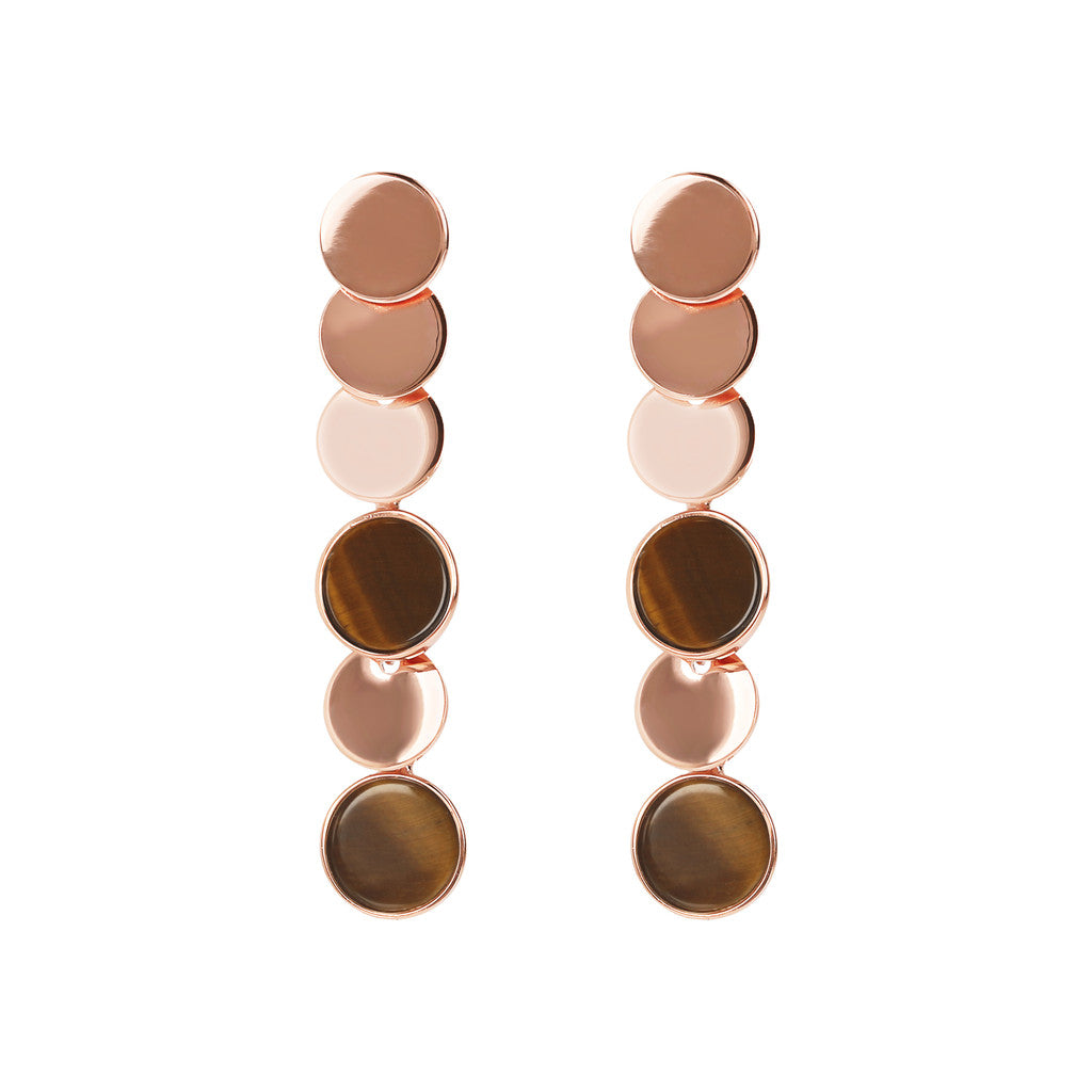 ALBA dangle polished 8MM disc earrings with flat disc stone - WSBZ01755 con OCCHIO DI TIGRE