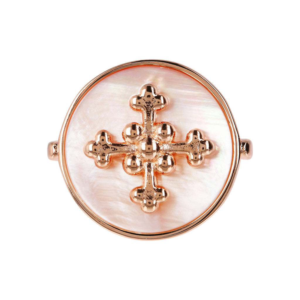 montatura del ALBA flat DISC STONE RING WITH cross  ELEMENT - WSBZ01705 con MADREPERLA ROSA