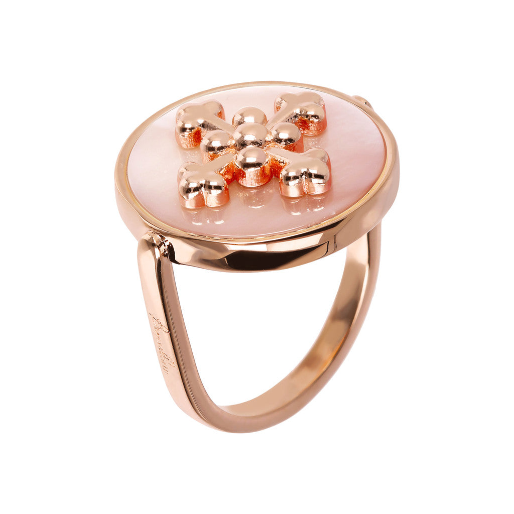 ALBA flat DISC STONE RING WITH cross  ELEMENT - WSBZ01705 con MADREPERLA ROSA