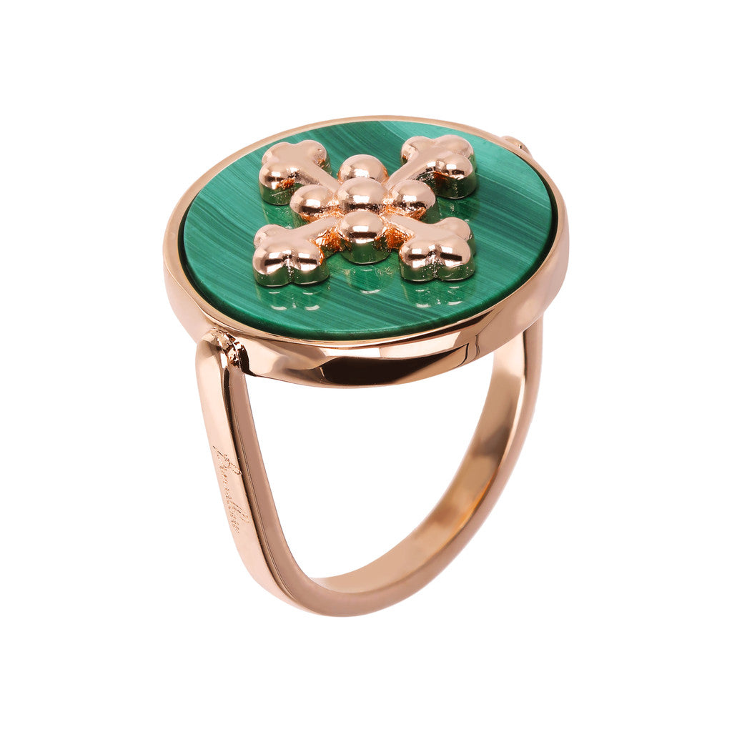 ALBA flat DISC STONE RING WITH cross  ELEMENT - WSBZ01705 con MALACHITE