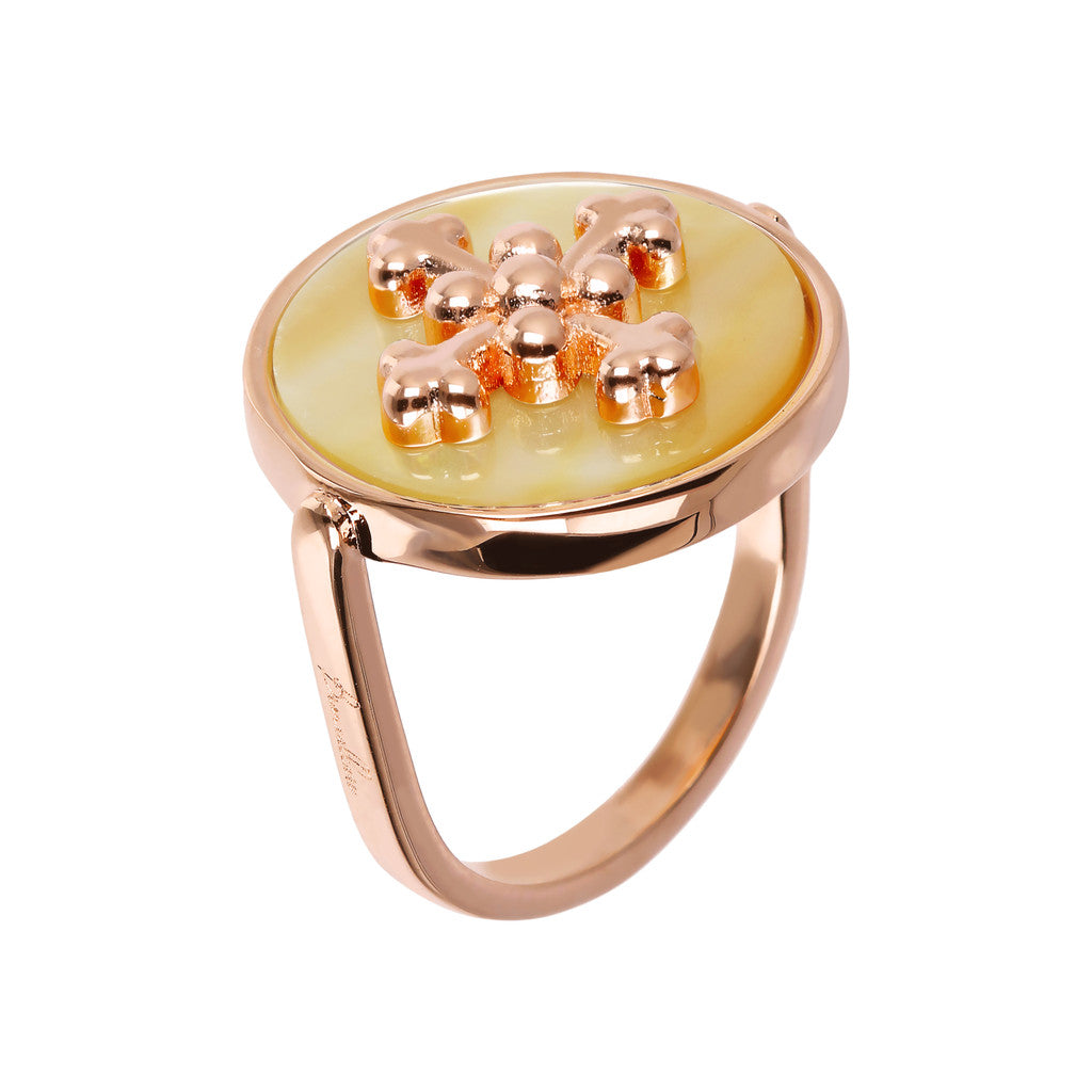 ALBA flat DISC STONE RING WITH cross  ELEMENT - WSBZ01705 con YELLOW DYED MOP