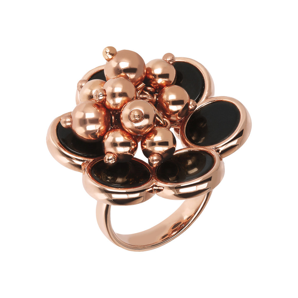 ALBA flower ring with disc black gemstone and polished beads - WSBZ01781