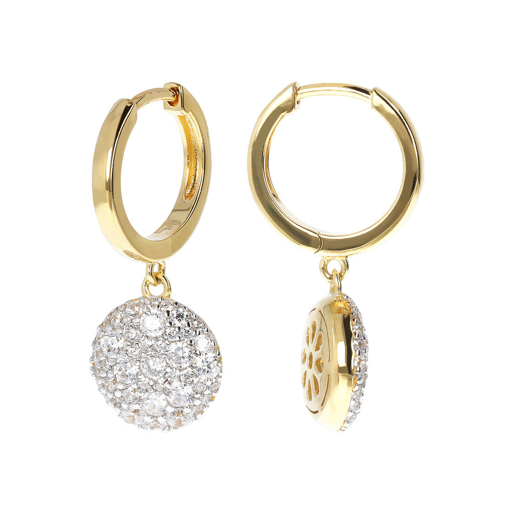 ALTISSIMA BRONZALLURE GOLDEN HOOP EARRINGS WITH DANGLE ROUND  PAVè  PENDANT  - WSBZ01592Y frontale e laterale