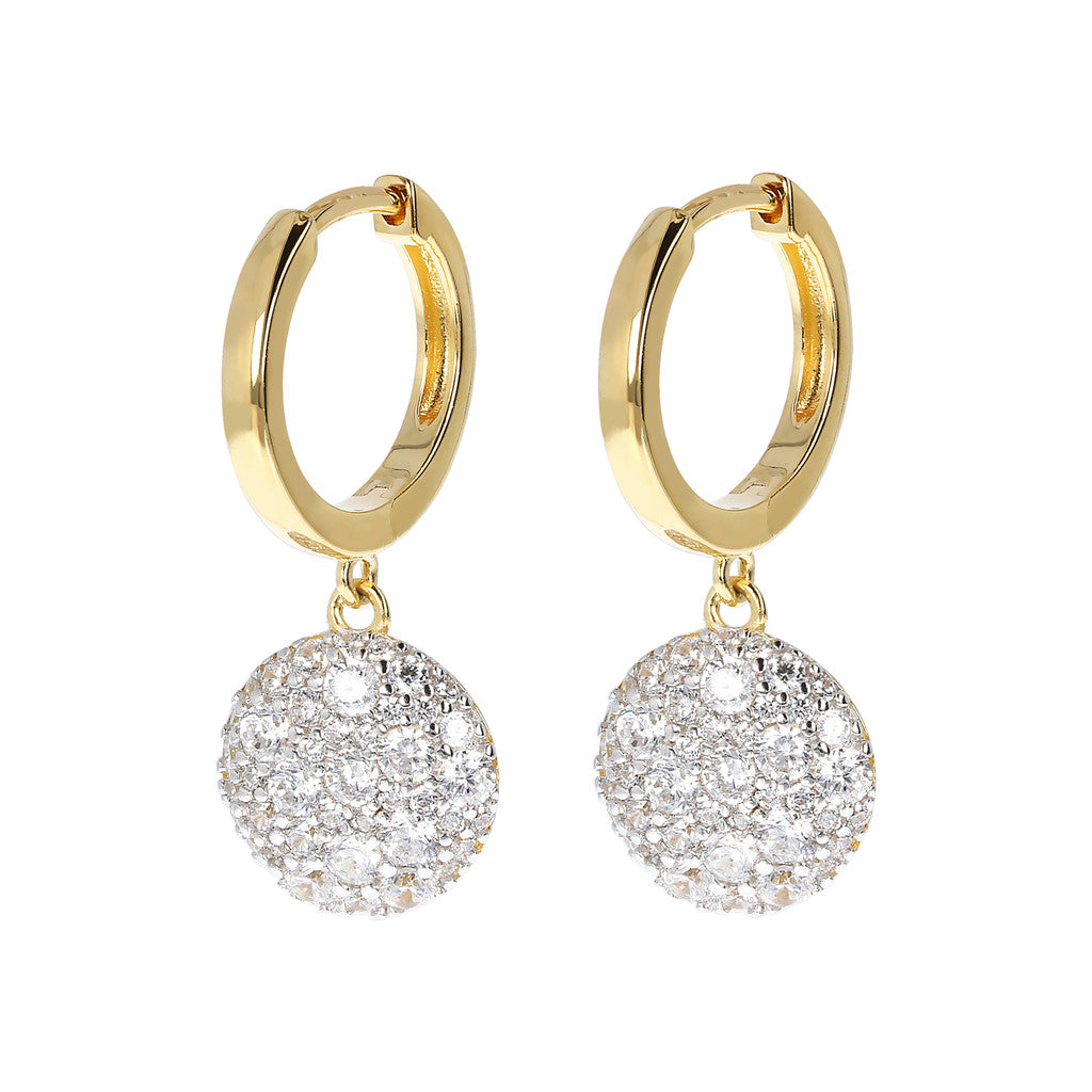 ALTISSIMA BRONZALLURE GOLDEN HOOP EARRINGS WITH DANGLE ROUND  PAVè  PENDANT  - WSBZ01592Y