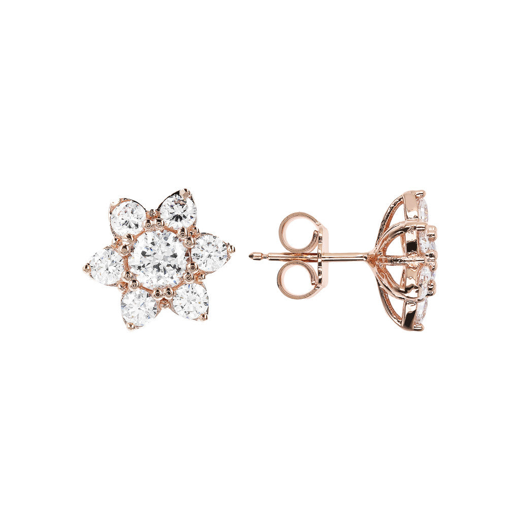 ALTISSIMA CZ GEMSTONE FLOWER EARRINGS - WSBZ01648 frontale e laterale
