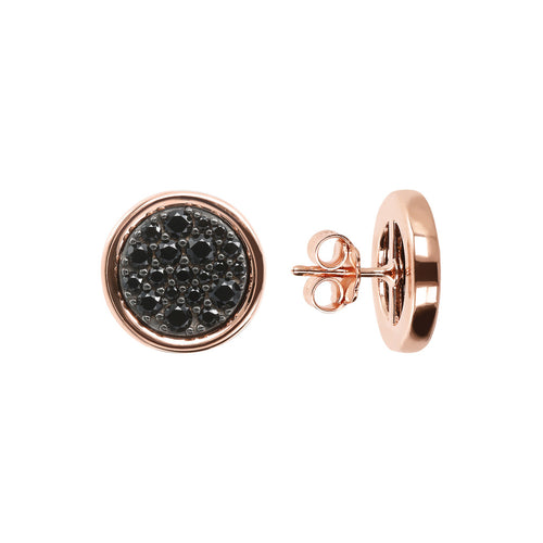 ALTISSIMA DISC WITH CZ GEMSTONE BUTTON EARRINGS - WSBZ01687 con SPINELLO NERO frontale e laterale