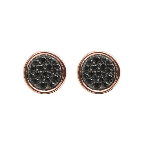ALTISSIMA DISC WITH CZ GEMSTONE BUTTON EARRINGS - WSBZ01687 con SPINELLO NERO