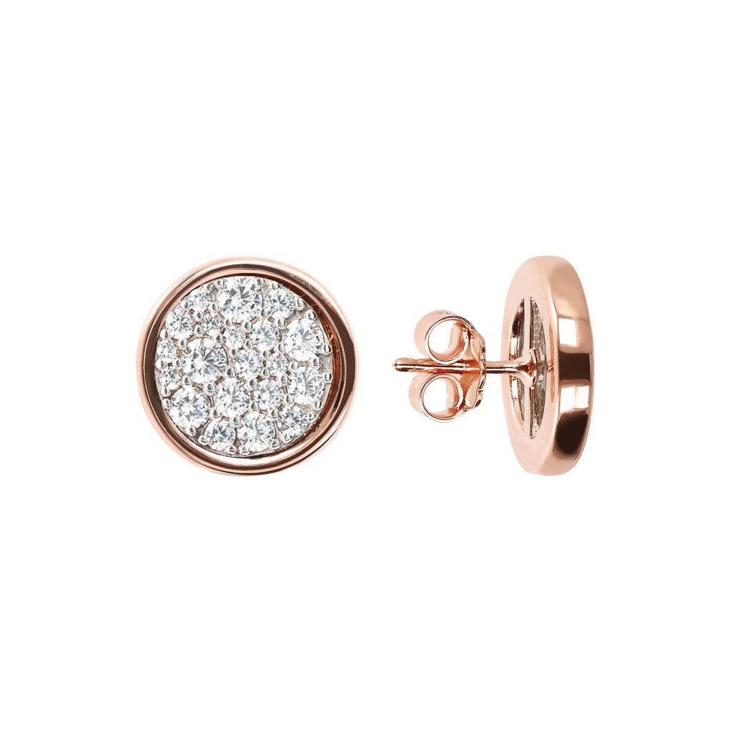ALTISSIMA DISC WITH CZ GEMSTONE BUTTON EARRINGS - WSBZ01687 frontale e laterale