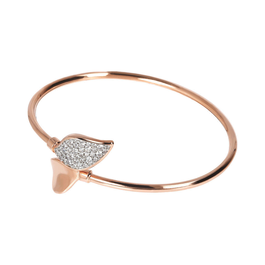 ALTISSIMA FLEX BANGLE WITH CZ PAVè LEAF CAPS - WSBZ01791