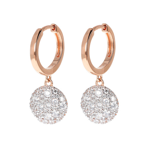 ALTISSIMA HOOP EARRINGS WITH DANGLE ROUND  PAVè  PENDANT  - WSBZ01592