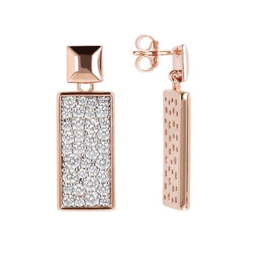 ALTISSIMA RECTANGULAR DANGLE EARRING PAVè - WSBZ01600 frontale e laterale