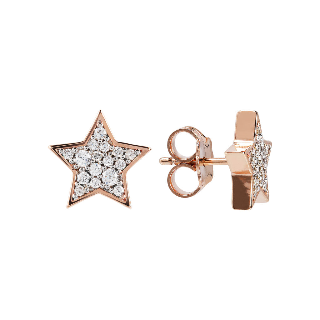 ALTISSIMA STAR SHAPE BUTTON EARRING WITH PAVè - WSBZ01468 frontale e laterale