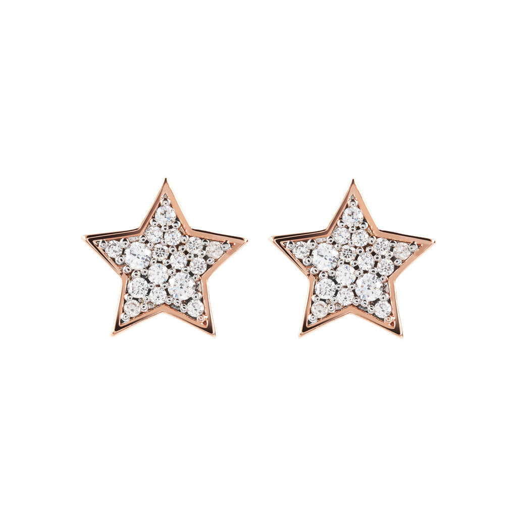 ALTISSIMA STAR SHAPE BUTTON EARRING WITH PAVè - WSBZ01468