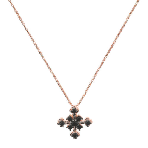 ALTISSIMA pave' cross pendant with small rolo' chain - WSBZ01678 con SPINELLO NERO