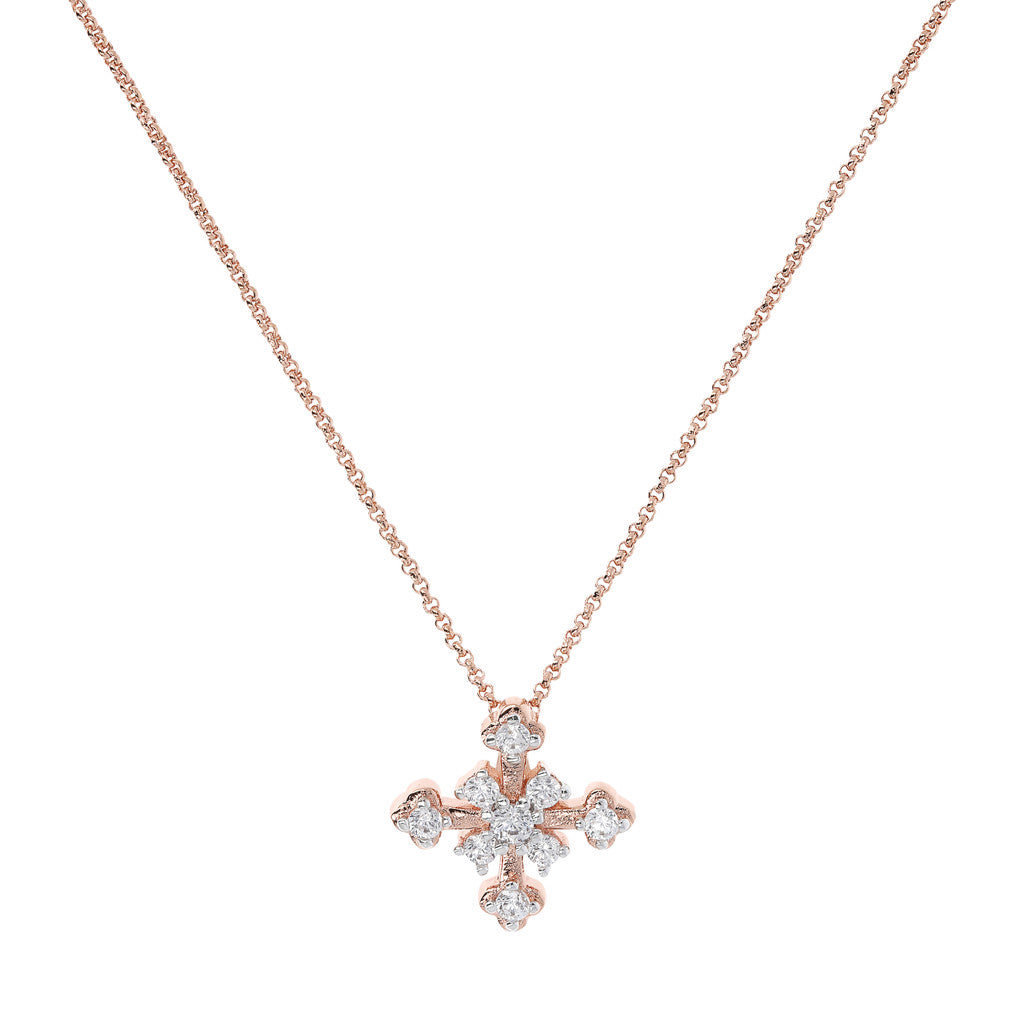 ALTISSIMA pave' cross pendant with small rolo' chain - WSBZ01678