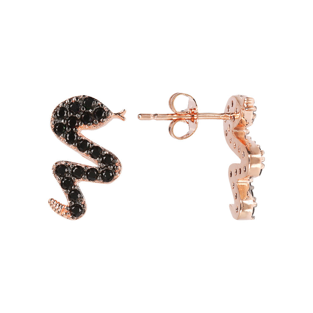 ALTISSIMA snake with cz gemstone earrings - WSBZ01637 con SPINELLO NERO frontale e laterale