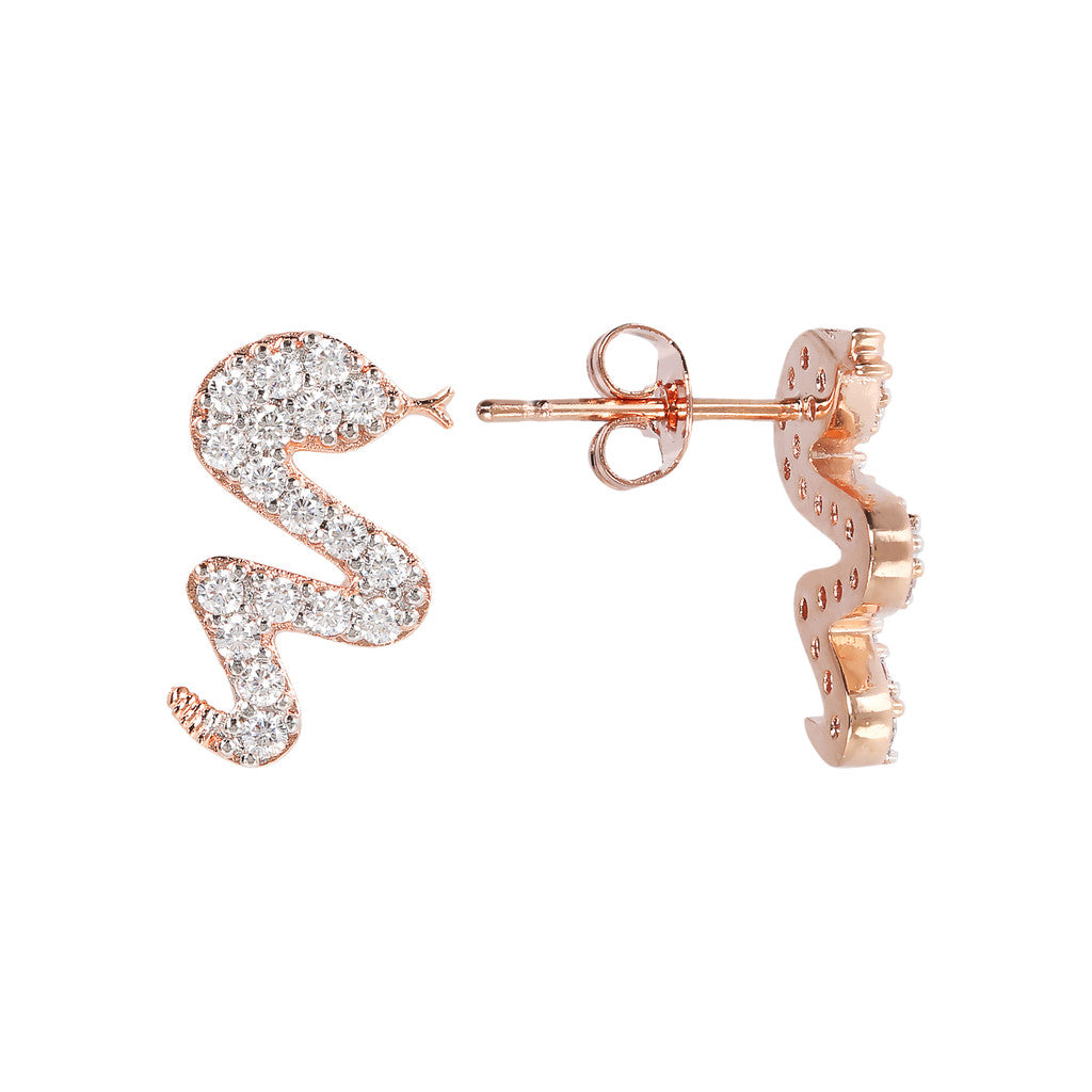 ALTISSIMA snake with cz gemstone earrings - WSBZ01637 frontale e laterale