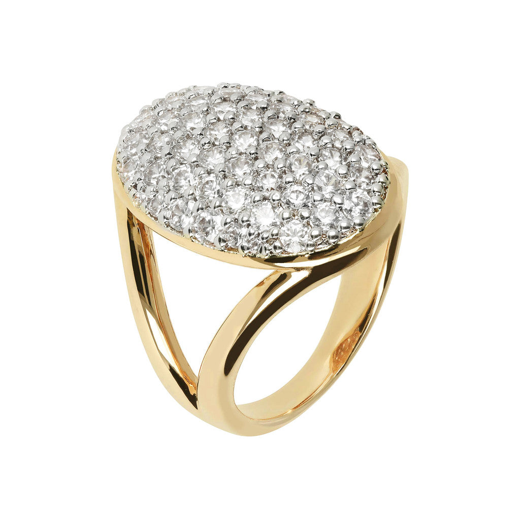 ANELLO PAVE OVALE YELLOW GOLD