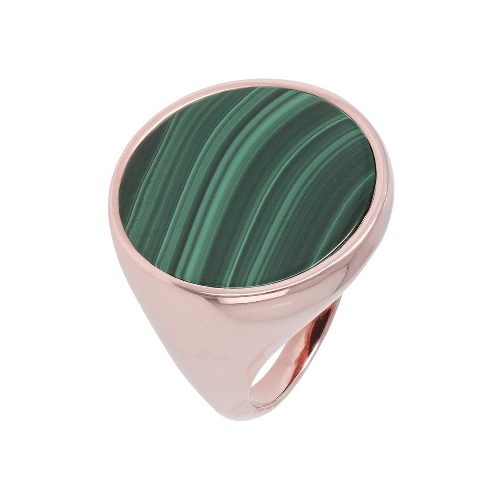 Anello Chevalier con malachite