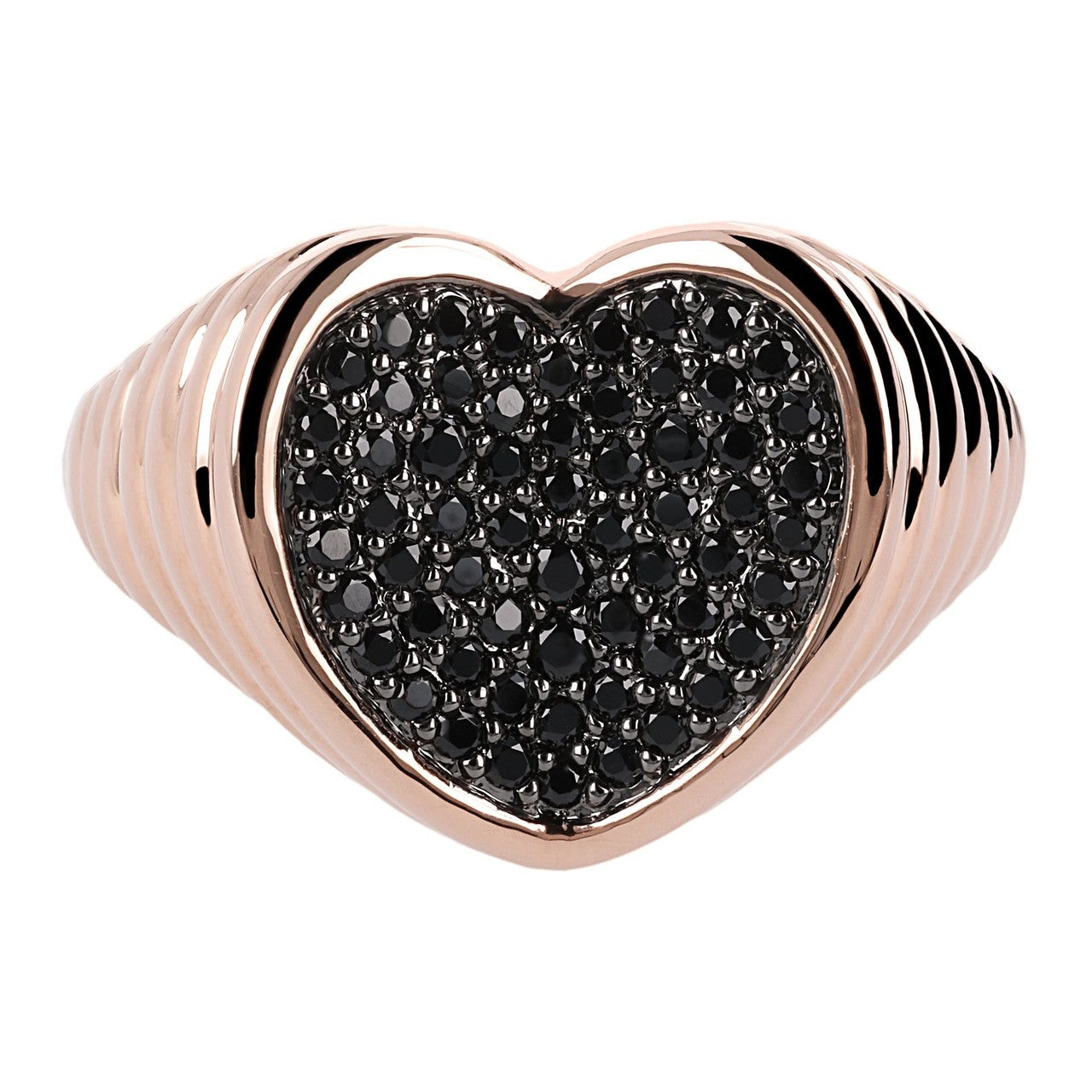 Anello a Cuore con micropave in Spinello Nero