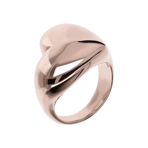 Anello Design Lucido a Cuore in Golden Rose