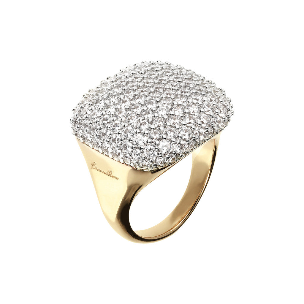 Anello Pave Quadrato Bronzallure Yellow Gold