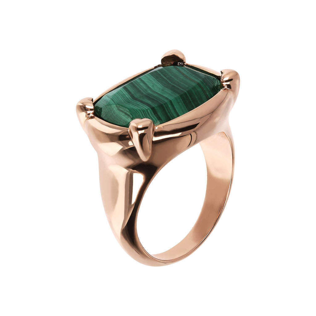 Bronzallure | Anelli | Anello Queen in Golden Rosé e Malachite