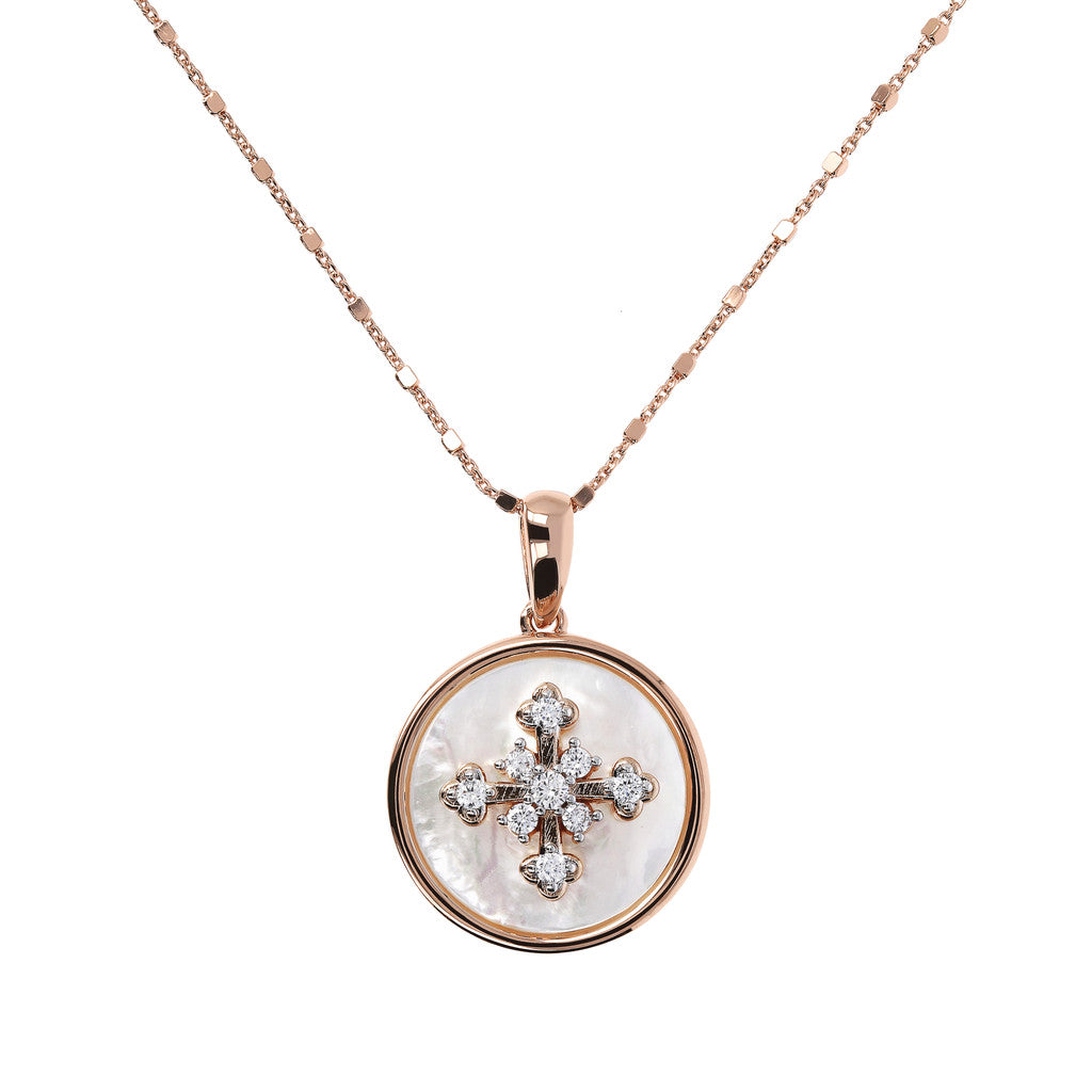 Collana Alba Croce CZ con MADREPERLA-WHITE CZ