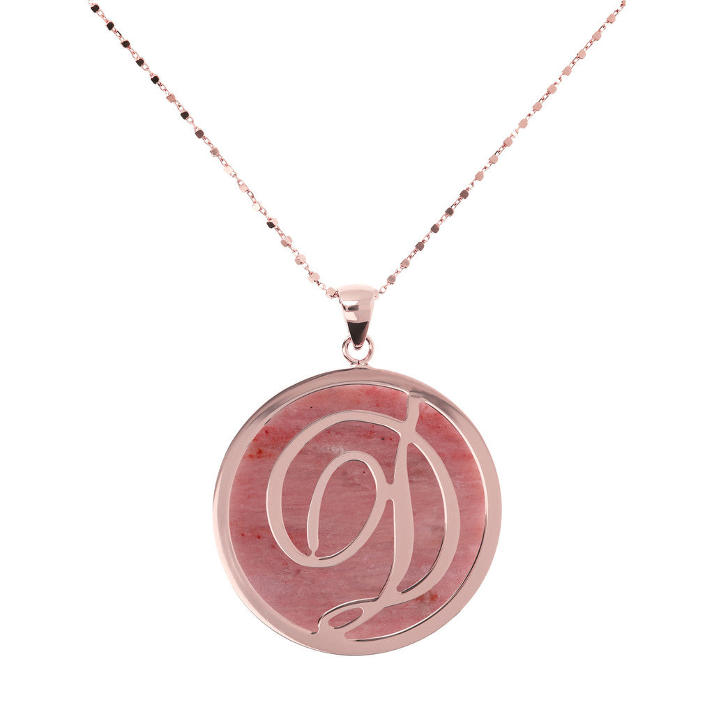 Collana con Maxi Lettera in Rodolite con RODONITE-D