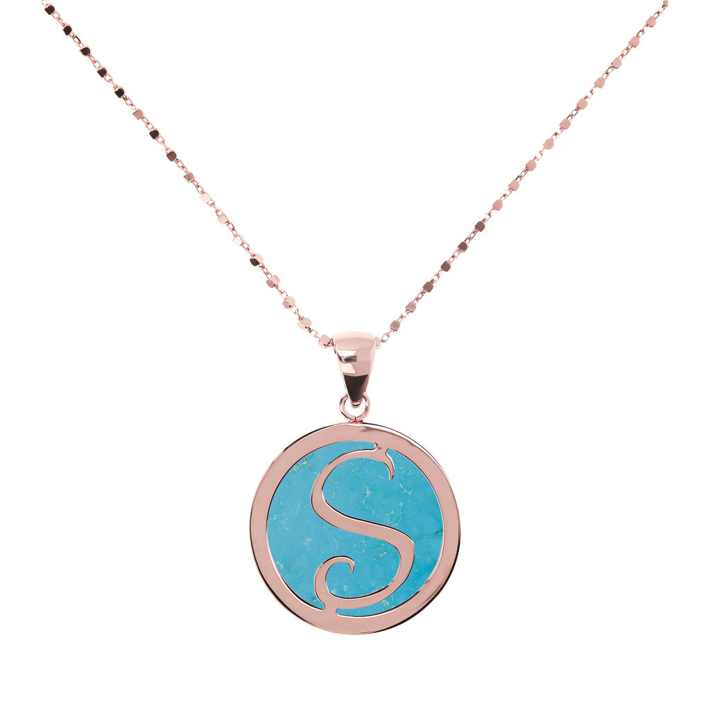 Collana con Mini Lettera in Magnesite con MAGNESITE-S