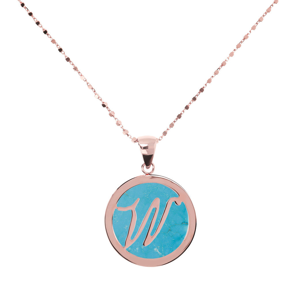 Collana con Mini Lettera in Magnesite con MAGNESITE-W