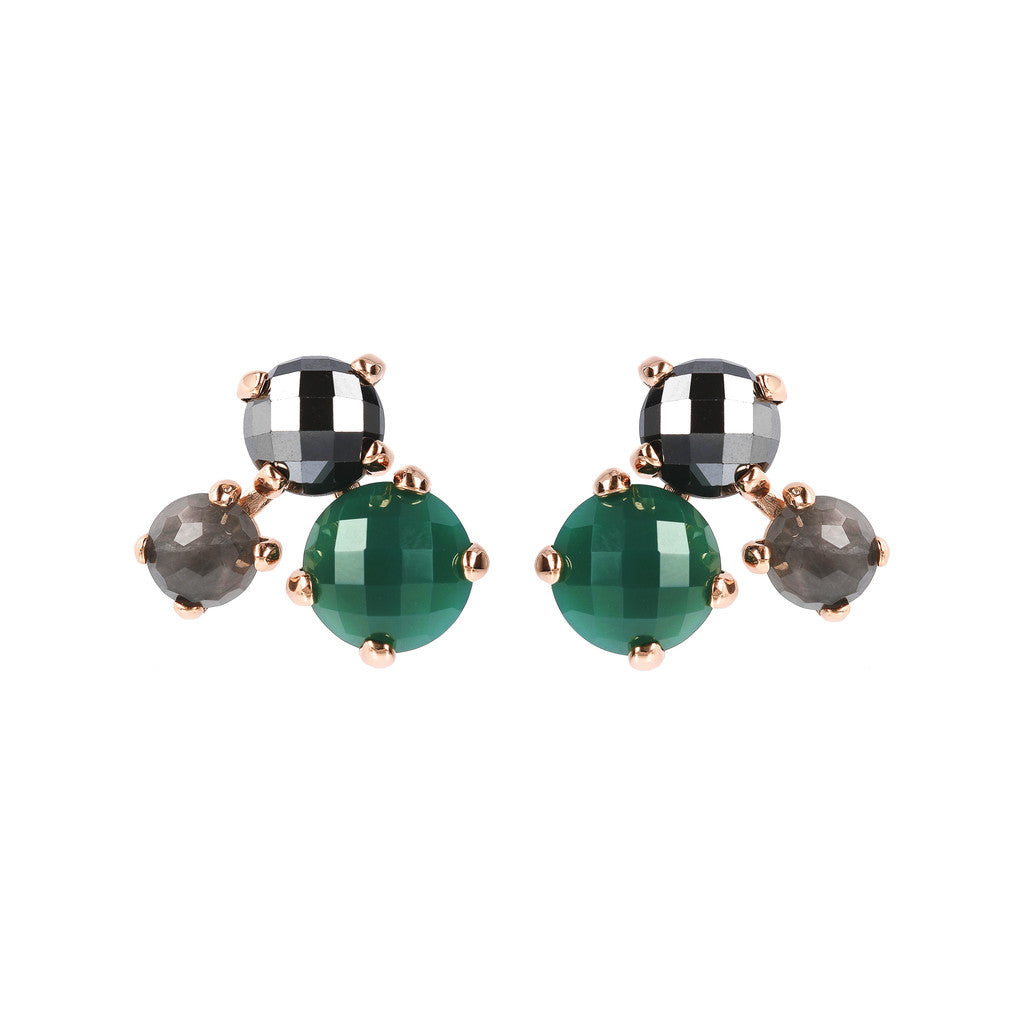 FELICIA VARIEGATA FACETED GEMSTONE EARRINGS - HEMATITE + CLOUDY QTZ + GREEN CHALCEDONY - WSBZ01667
