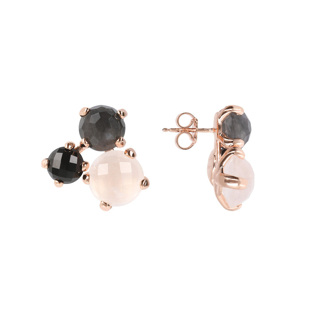 FELICIA VARIEGATA FACETED GEMSTONE EARRINGS - ROSE QTZ + CLOUDY QTZ + BLACK ONYX - WSBZ01667 frontale e laterale