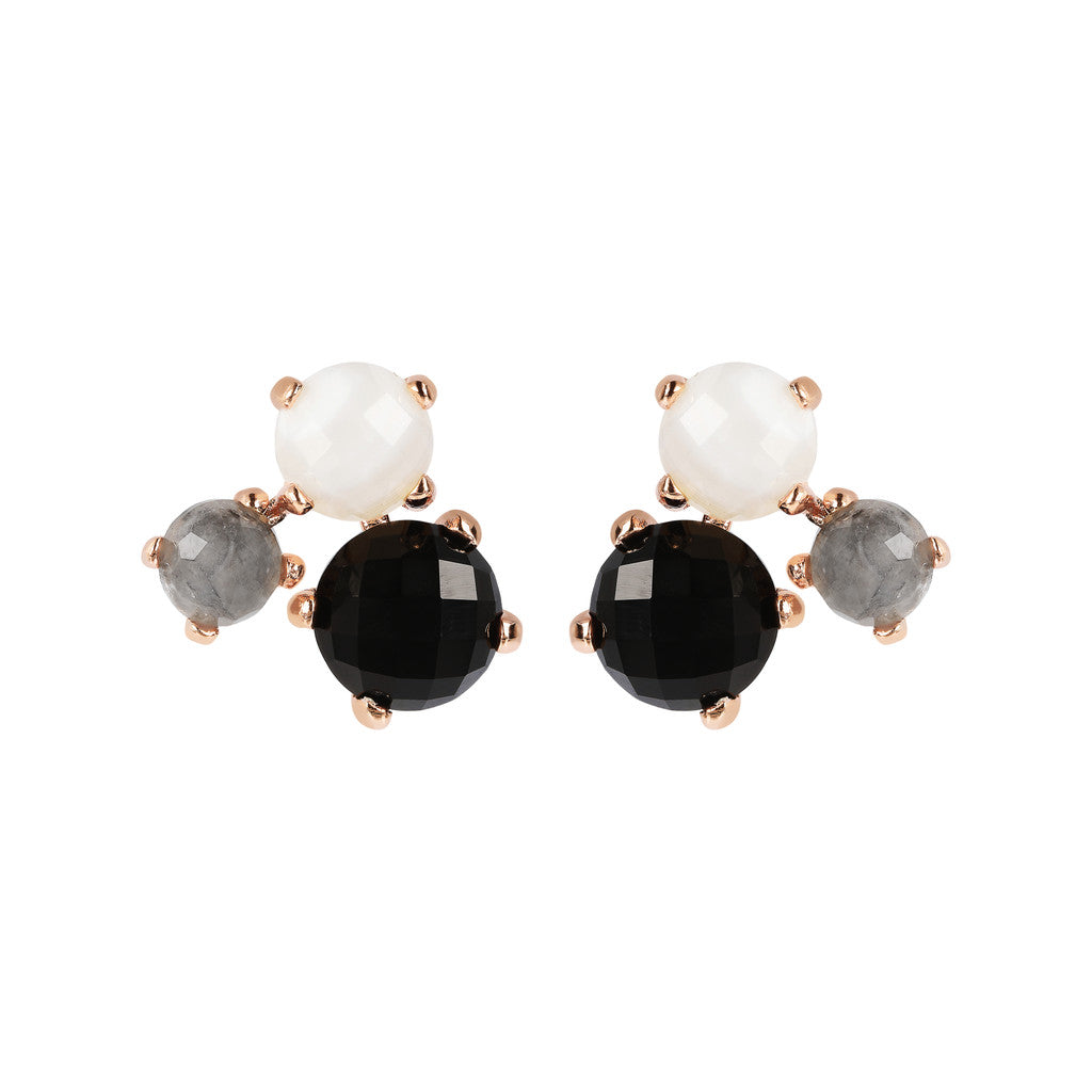 FELICIA VARIEGATA FACETED GEMSTONE EARRINGS - WHITE LACE AGATE+CLOUDY QTZ+BLACK ONYX - WSBZ01667