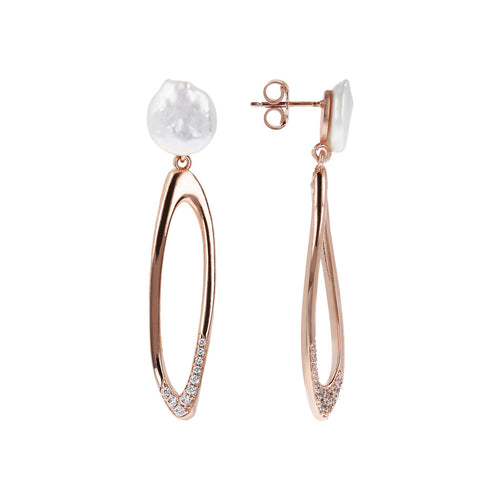MAXIM MATERIA DANGLE EARRING WITH PEARL TOP AND FANCY ELEMENT - WSBZ01488 frontale e laterale