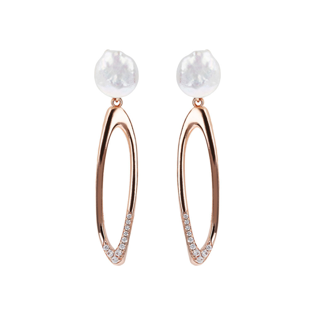 MAXIM MATERIA DANGLE EARRING WITH PEARL TOP AND FANCY ELEMENT - WSBZ01488