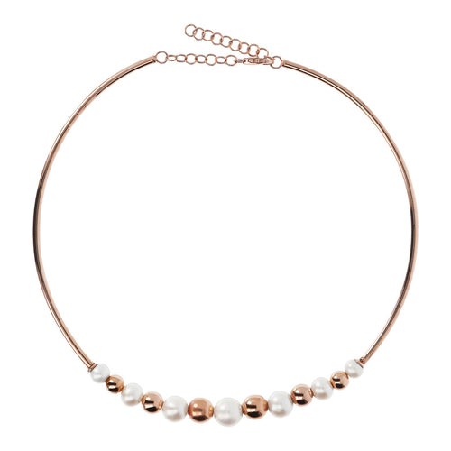 MAXIMA CHOCKER NECKLACE WITH PEARLS AND POLISHED BEADS - WSBZ01435