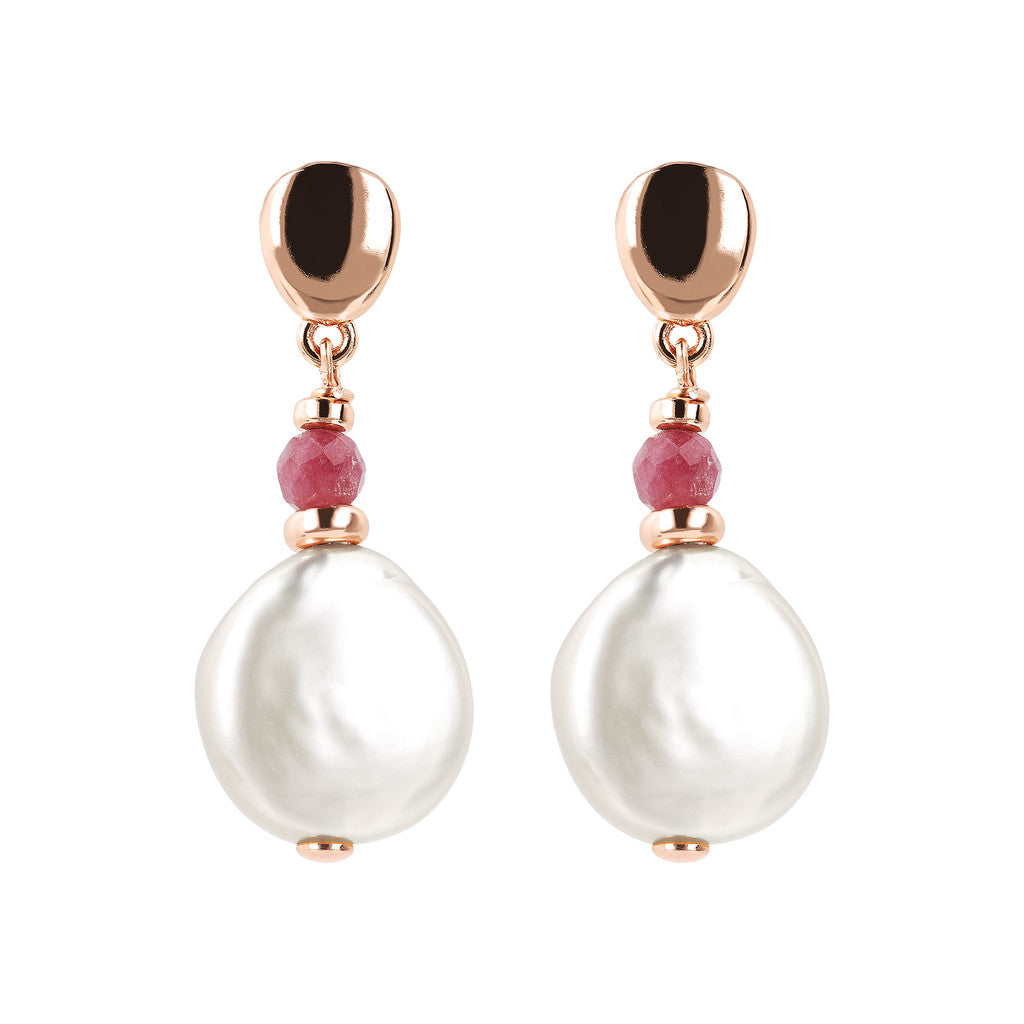 MAXIMA COIN PEARL AND FACETED GEMSTONE DANGLE EARRINGS - WSBZ01754