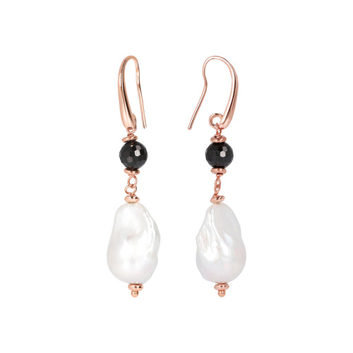 MAXIMA CULTURED PEARL AND BLACK SPINEL GEMSTONE DANGLE EARRINGS - WSBZ01674 frontale e laterale