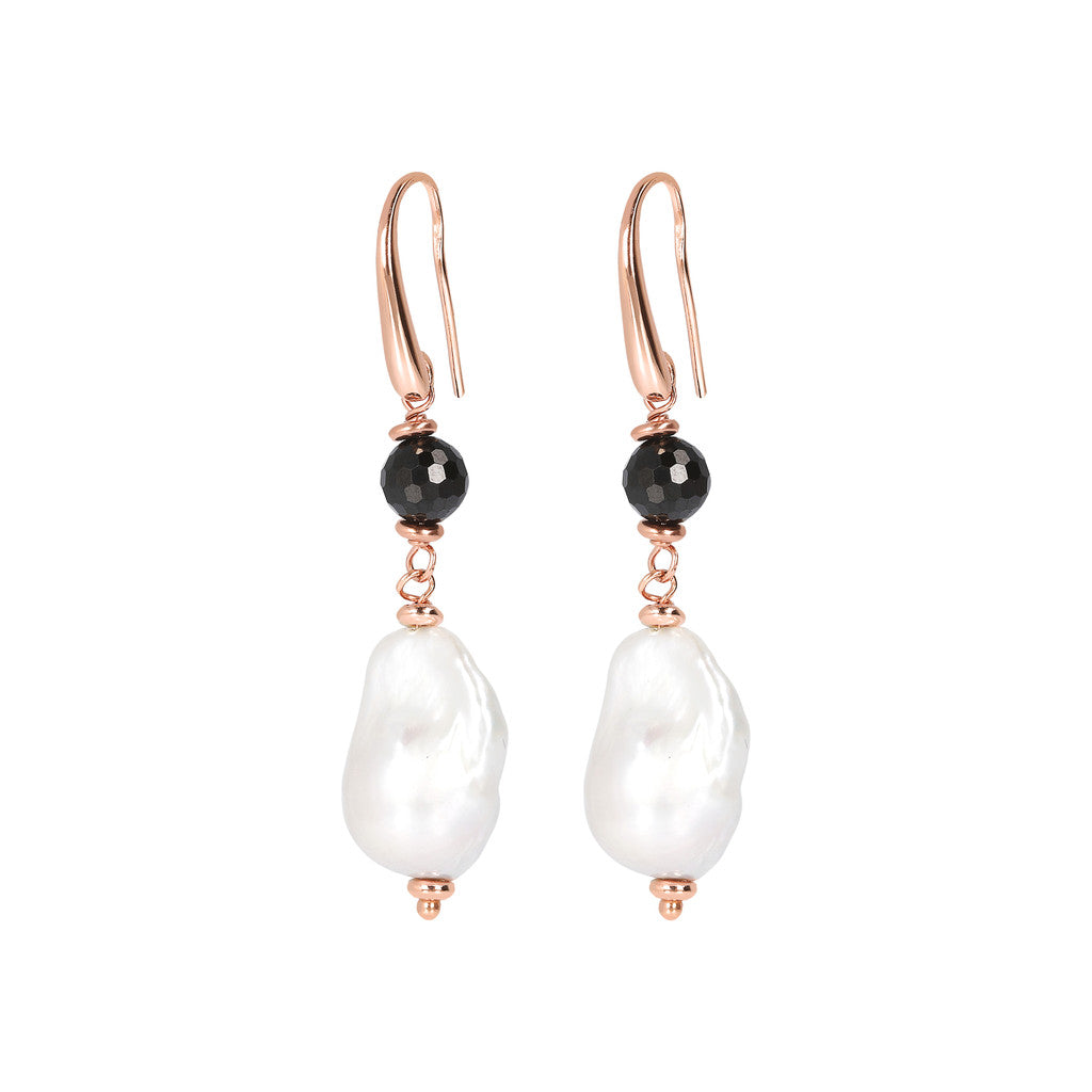 MAXIMA CULTURED PEARL AND BLACK SPINEL GEMSTONE DANGLE EARRINGS - WSBZ01674