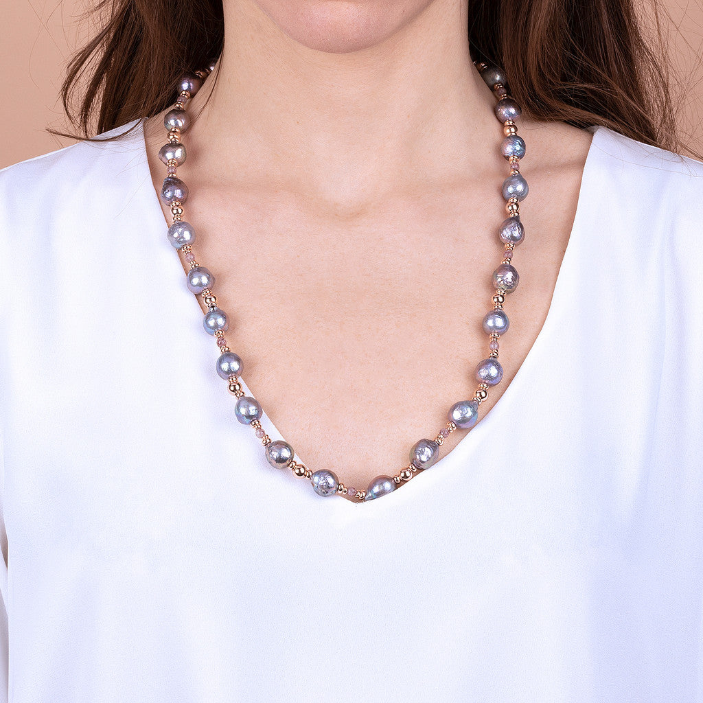 MAXIMA POLISHED BEAD AND CULTURED PEARL NECKLACE - WSBZ01732
