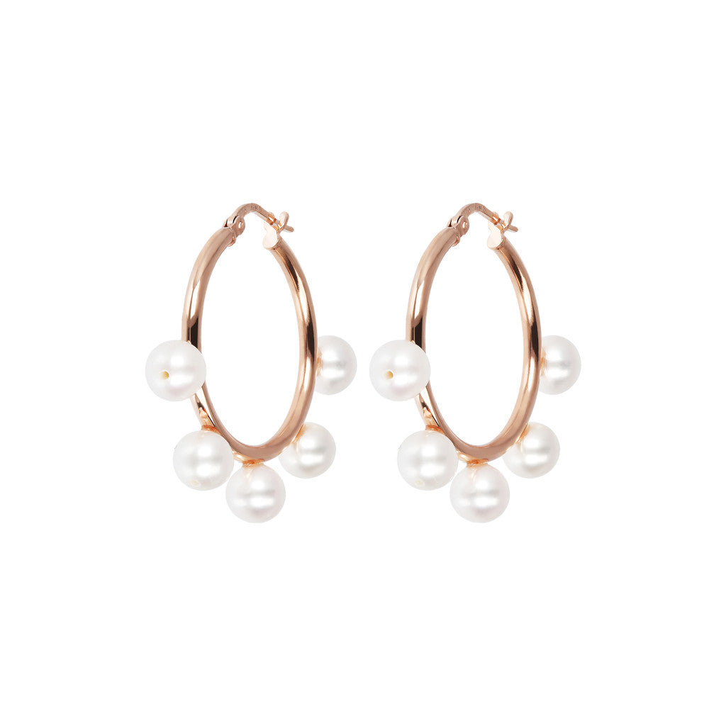 MAXIMA ROUND HOOP PEARL EARRINGS - WSBZ01631