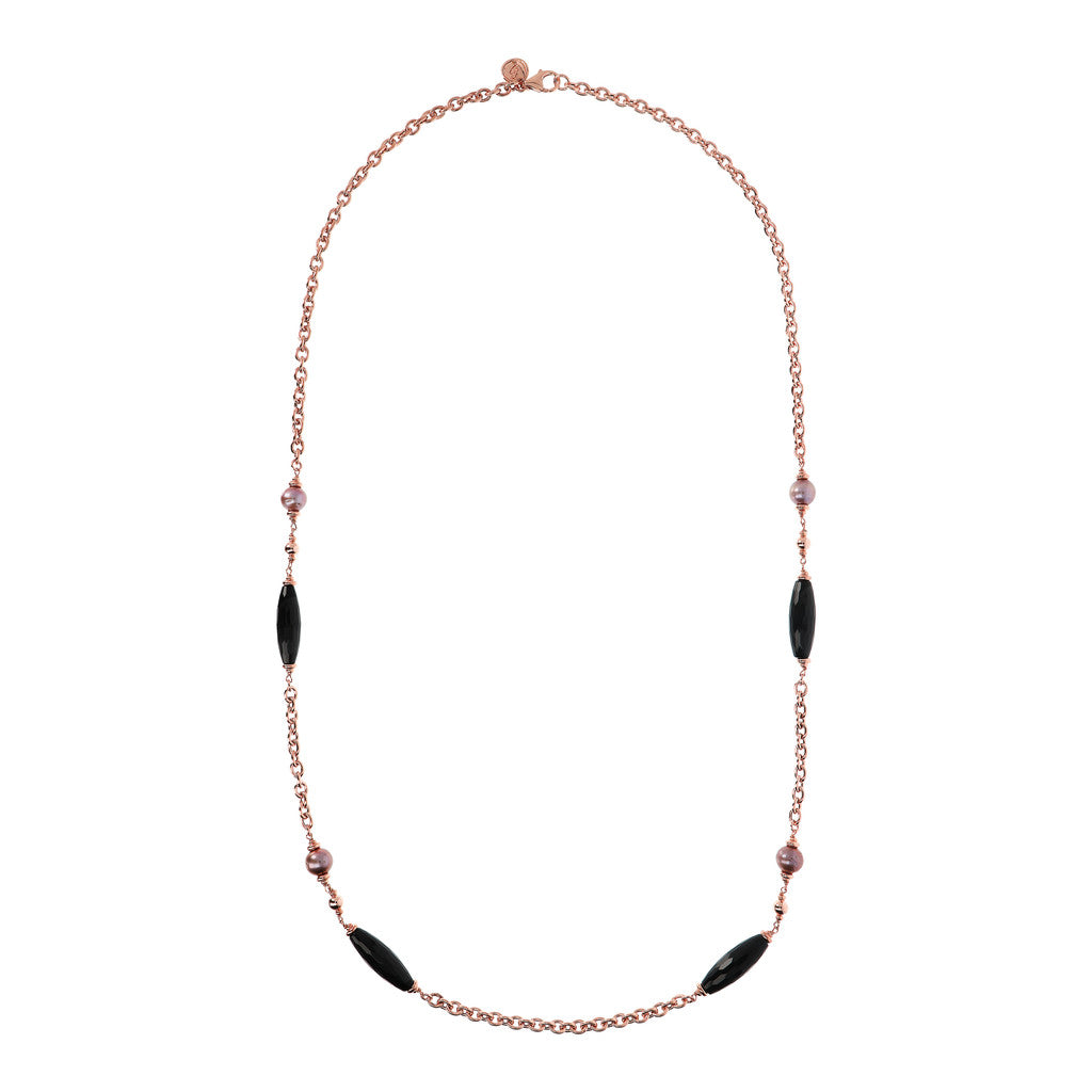 MAXIMA SHINY OVAL ROLO CHANEL NECKLACE WITH BLACK FACETED GEMSTONE & CULTURED PEARL - WSBZ01541 intero